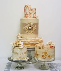 Hand-painted and applique vintage wedding cakes