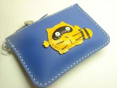 Ronnie the Raccoon Leather Purse Blue and Yellow by leatherprince, $43.50