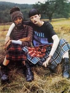 1990s grunge. Vogue 1992. The style combines elements of punk mixed with inexpensive working class clothing, like jeans and plaid fabrics.