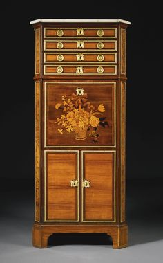 A royal Louis XVI ormolu-mounted sycamore, amaranth, tulipwood and marquetry secrétaire à abattant circa 1775, stamped twice J. H. Riesener the reverse branded and the marble stenciled GG under a crown for the Garde Meuble Générale. Jean-Henri Riesener (1734-1806), made in 1768 Sotheby's