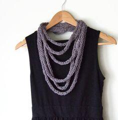 Gray Scarf Necklace .. Lightweight Scarf .. Hemp by DottieQ, $26.00