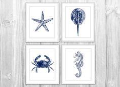 Navy Nautical Set of 4 Art Prints - Navy Blue & White Starfish, Crab, Seahorse - Modern Beach House Bathroom Decor on Etsy, $20.00