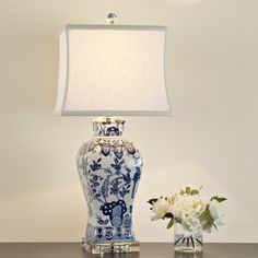 Square Vase Blue and White Floral Table Lamp blue_white