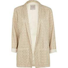 light beige broderie blazer - blazers - coats / jackets - women - River Island  £35