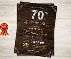Fun adult birthday purple 70th or any age printable birthday rustic wood birthday invitation 70th birthday by topdigitalart stopboris Image collections