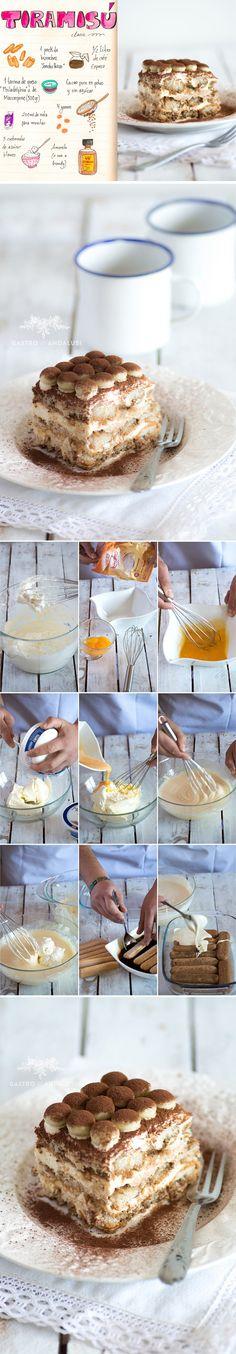 tiramisú, receta tiramisú, chocolate blanco, galletas savoiardi, amaretto, mascarpone, crema, nata, cafe, cacao