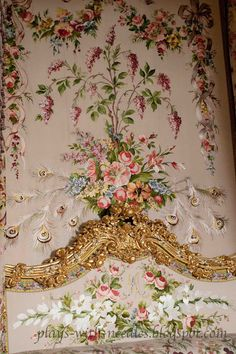 The Bed Chamber of Marie Antoinette. Embroidery Details  of the Back Panel and the Headboard.