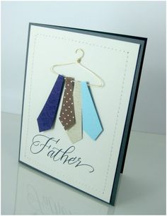 Happy Father Day Card  29.  Father's Day Tie Card ~ To make the hanger use 18-gauge wire and using a pair of jewelry-making pliers, shape the wire into a cutesy little hanger.