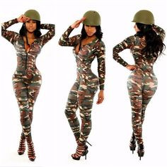 Army Green Camouflage Women Deep V-Neck Long Sleeve Bodycon Jumpsuits Rompers