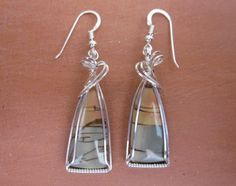 Succor Creek Picture Jasper Stone Sterling Silver Wire Wrapped Earrings. $40.00, via Etsy.