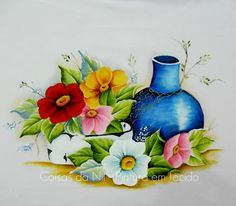 Coisas da Nil - Pintura em tecido: Moringa, bacia de esmalte e flores silvestres.