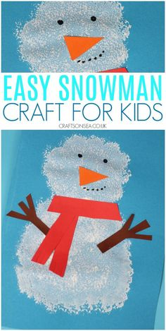 A simple snowman craft that's perfect for winter crafts or Christmas This easy pom pom printed snowman craft is perfect for Christmas cards or winter crafts for kids. It's simple to make and great for fine motor skills too! Christmas Activities For Toddlers, Winter Crafts For Toddlers, Preschool Christmas Crafts, Animal Crafts For Kids, Preschool Winter, Preschool Activities, Bear Crafts, Snowman Crafts, Kid Crafts