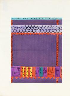 Felice Rix-Ueno, textile design Doublfox, 1924-32. Brush and gouache on paper. Austria. Via Cooper Hewitt  1 + 2