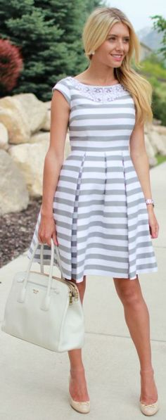 Kate Spade New-york White And Grey Beaded Neckline Striped Skater Dress by Bird a la mode