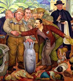 "Detail from rivera's ""gloriosa victoria. secretary of state, john foster dulles Diego Rivera Art, Art Journal Prompts, Art Studio Organization, Art Drawings Sketches, Mexican Art, Art Sketchbook, Vintage Posters, Illustrations Posters, Victoria"