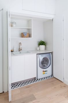 Laundry before and after: Dreamy Euro style laundry behind pocket doors Hidden Laundry Rooms, Laundry In Kitchen, Laundry Bathroom Combo, Laundry Cupboard, Laundry Doors, Garage Laundry, Modern Laundry Rooms, Laundry Room Remodel, Laundry Closet