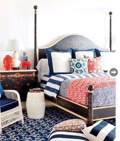 bedroom colors, for the guest bedroom gray, navy blue & ORANGE