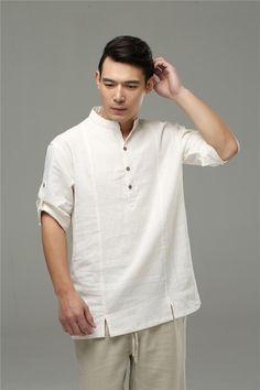 Mens Loose Fit Three Quarters Linen Shirt (7)