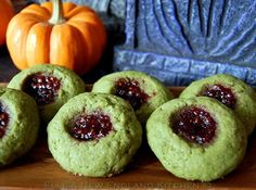It's a good thing for me that they were the old school, slow-type zombies.  Because they have the sweetest, tastiest eyeballs--much better than the speedy, new and improved zombies.  Mwahahaha!! (Matcha Shortbread Thumbprint Cookies)