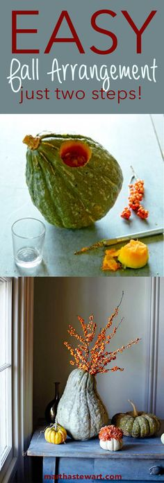 To make one from a large squash such as the 'Hubbard,' cut a hole near the top with a miniature saw and insert a glass jar in the neck to hold water for bittersweet or other branches.