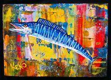 ~WaHOO~ FiSH~painting Maine~ Abstract FOLK ART outsider ~COASTWALKER