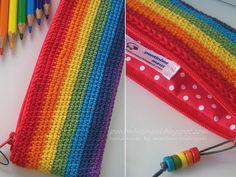 Cannot go past a rainbow crochet pencil case!