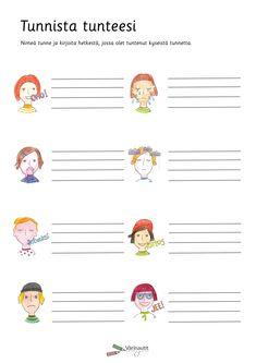 Tunnetaidot - Värinautit Learn Finnish, Mindfulness, Bullet Journal, Teaching, Activities, School, Bujo, Friends, Ideas