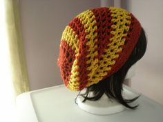 Copley hat in Gryffindor red and gold -- slouchy on Etsy, $26.63 CAD