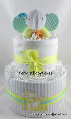 Elephant diaper cake  Neutral diaper cake  by MsCarlasBabyCakes