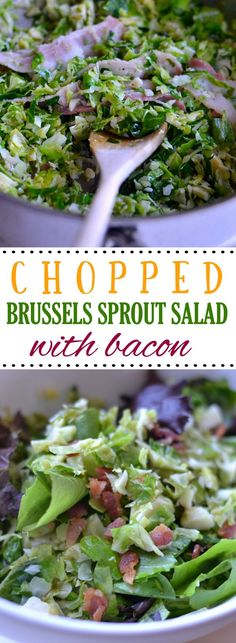 A simple, delicious, and nutritious salad made from chopped brussels sprouts, arugula, parmesan, and bacon with a lemony vinaigrette.