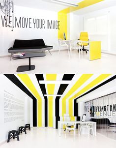 Decoration, Gorgeous Yellow Room Decor In Office Space Yellow Black Stripes Ideas With Taglines On White Wall Also Contemporary Black Gray Sofa And Single Legged Coffee Table Along With Pc Unit On Desk: The Best Inspiration Yellow Painted Rooms