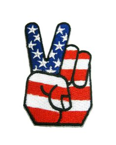 Peace Fingers USA Applique Embroidered Iron on Patch by EriztShop 14858b57349e