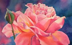 MORNING ROSE 2 (SOLD) watercolor and acrylic painting - Original Fine Art for Sale - © Barbara Fox