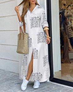 Elegant White Dress, Beautiful White Dresses, White Dresses For Women, White Maxi Dresses, Button Down Shirt Dress, Long Sleeve Shirt Dress, Long Sleeve Shirts, Dress Long, Long Dresses
