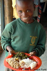 A Year of School Lunches for an AIDS Orphan at The Hunger Site; Item # 41663. 6 mos for 1 child- $10.00, A year for 1- $20.00, A yr for 2- $40.00, A yr for 4- $80.00, A year for 5- $100.00 Of Zambia's 1.2 million orphans, more than half lost their parents to the HIV epidemic. Cecily's Fund is a non-profit that supports a community school, Bwafwano, that serves over 750 students grades 1-4. They receive a midday meal -- for many, the only meal they will get all day.