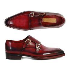 Paul Parkman Men's Double Monkstrap Shoes Black & Bordeaux