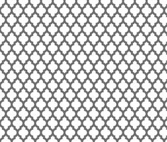 Moroccan quatrefoil lattice - gray on white fabric by spacefem on Spoonflower - custom fabric