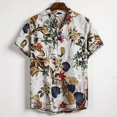 INCERUN Mens Summer Fashion Cool Printing Design Short Sleeve Lapel Shirt is designer and cheap on Newchic. White Hawaiian Shirt, Hawaiian Shorts, Camisa Hippie, Casual Tops, Casual Shirts, Casual Outfits, Site Mode, Mode Simple, Moda Casual