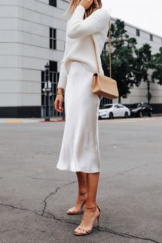 Fashion Jackson Wearing Banana Republic White Fuzzy Sweater White Slip Midi Skirt Winter White Party Outfit 3 outfits style summer teenage frauen sommer for teens outfits Looks Style, My Style, Pink Style, Mode Ootd, Street Style Outfits, Spring Street Style, Mode Simple, Party Mode, Look Boho