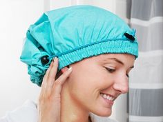 This adjustable shower cap, discovered by The Grommet, has a double-ended drawstring that won't crush hair. Made from breathable, machine washable fabric.