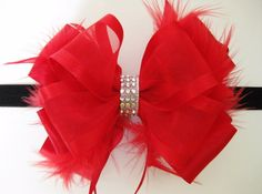 "5/"" Large Deluxe Layered Custom Satin Organza Ribbon Flower Puff Hair Bow Clip!"