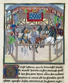 This appears to be an award ceremony? 15th century France. Note the color of the armour- bluing was done historically in a great number of examples.