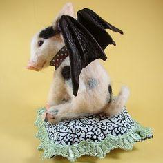 Needle Felted Art by Robin Joy Andreae: Bea, the Bat Pig