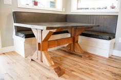 Dining nook, X-base farmhouse table with zinc top - DIY Projects
