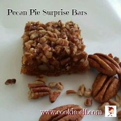 Pecan Pie Surprise Bars by The Cookie Elf - Christmas Cookies for Kids - Cake Mix Cookie Recipes, Chocolate Cookie Recipes, Cake Mix Cookies, Chocolate Chip Cookies, Pecan Cookies, Christmas Cookies Kids, Cookies For Kids, Bake Off Winners, Bake Off Recipes