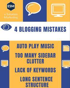 4 bogginh Mistakes you want ro avoid #digitalmarketingagency #digitalmarketing #blogging esolutionmarketing.com Sentence Structure, Mistakes, Sentences, Digital Marketing, Blogging, Music, Frases, Musica, Musik