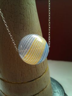 White Hand-Blown Glass Pendant Necklace ($18)
