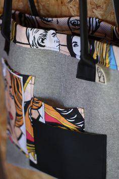 Borsa in denim e tela di cotone stile pop e inserti in ecopelle.