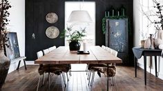 dining room in a Danish style interior Estilo Interior, Interior Styling, Interior Design, Danish Style, Scandinavian Home, Scandinavian Christmas, Black Walls, Home Fashion, Room Inspiration