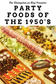 Vintage recipes, images and ideas to make the food at your party a highlight of the evening. Vintage recipes, images and ideas to make the food at your party a highlight of the evening. Retro Party, Party Food 1950s, 1950s Food, Cocktail Party Food, Retro Food, Vintage Food, Vintage Party Foods, Fifties Party, Vintage Kitchen